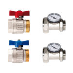 Kit vannes droites à boisseau sphérique Ideal, passage intégral avec joint torique et raccord porte-thermomètre pour collecteurs - 487K01