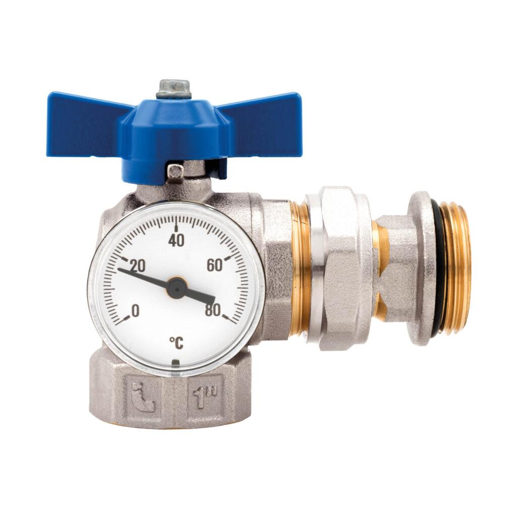 Kit vannes coudées à boisseau sphérique avec thermomètre integré, modèle compact - 487K02R
