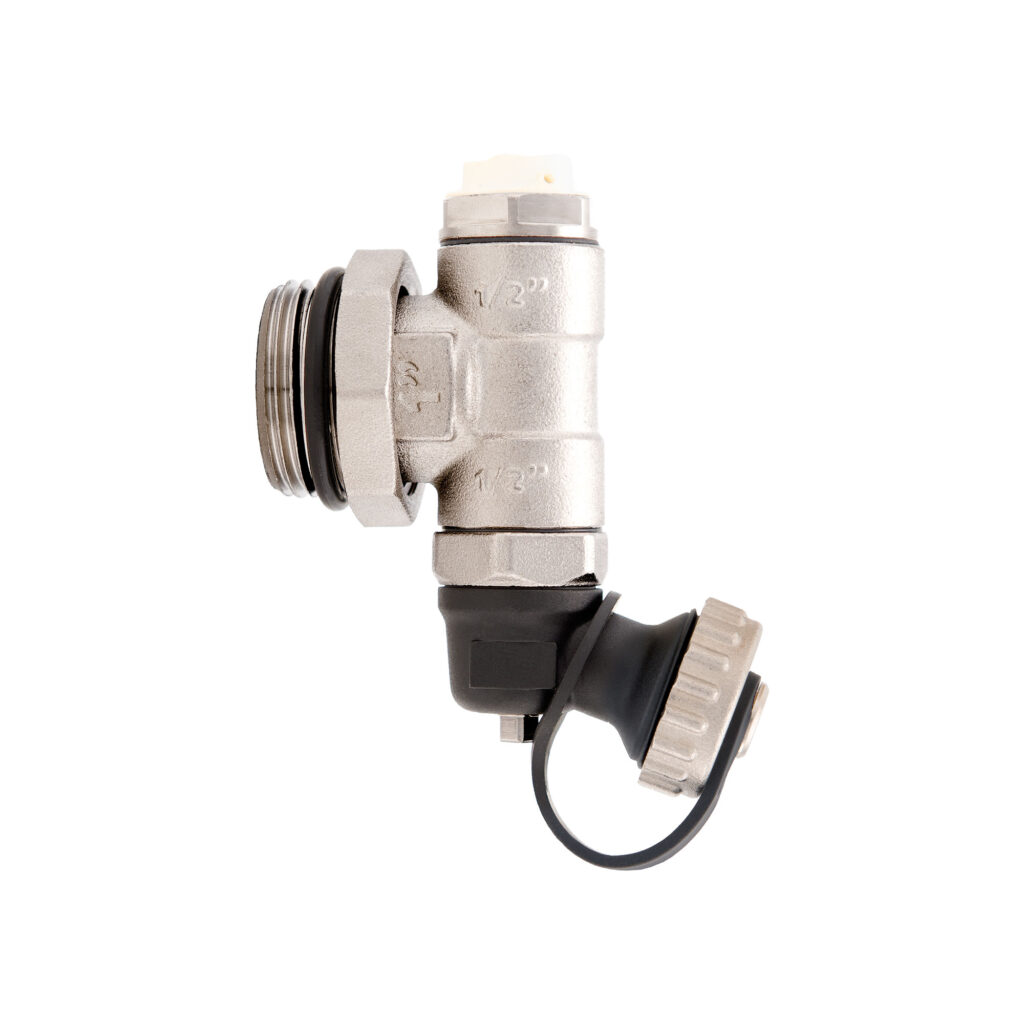 Nickel-plated adjustable end piece with drain valve and manual air vent valve - 489M
