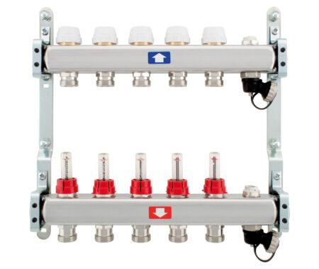 Укомплектованный коллектор, с расходомерами, с воздухоотводчиками и дренажем