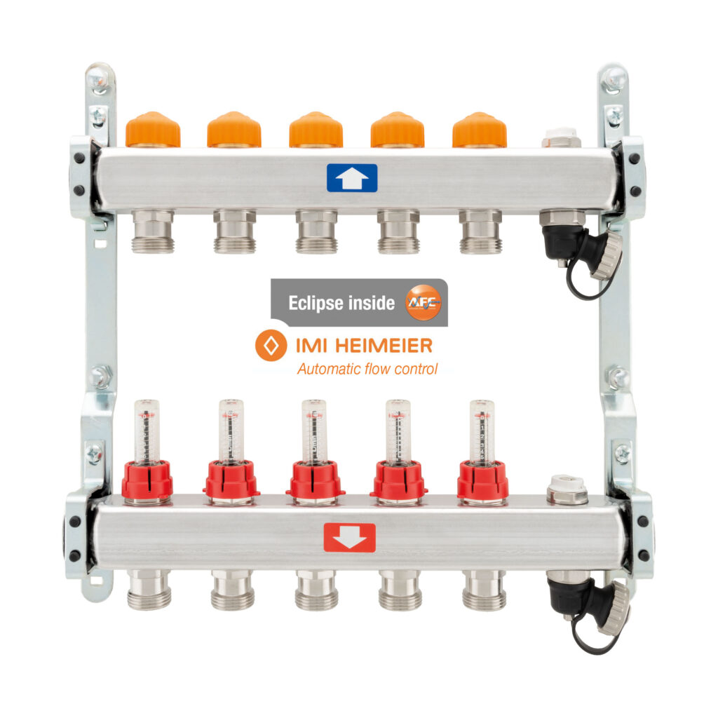 Pre-assembled manifold with flow meters, air vent valve and drain cock – Automatic flow control - 917CDEB