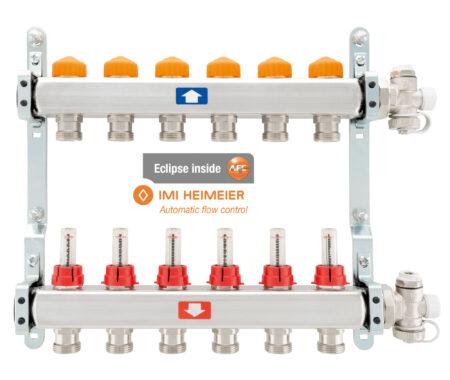 Укомплектованный коллектор, с расходомерами, с воздухоотводчиками и дренажем с термостабилизируемой вставкой