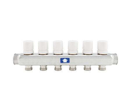 Коллектор с отсечными клапанами под электротермоп риводы с ручками